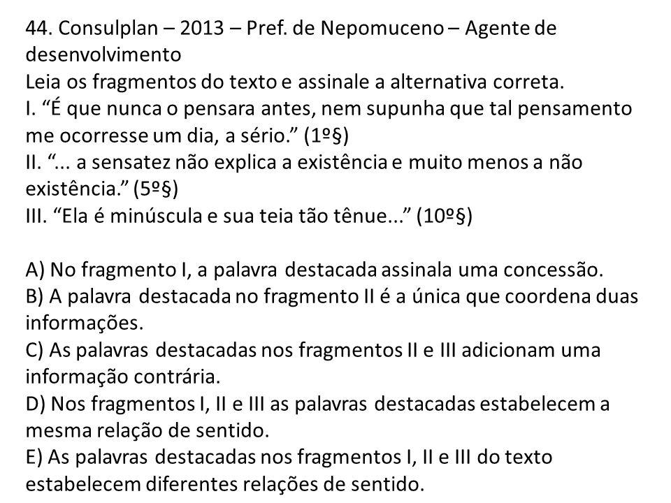 44. Consulplan – 2013 – Pref. de Nepomuceno – Agente de desenvolvimento