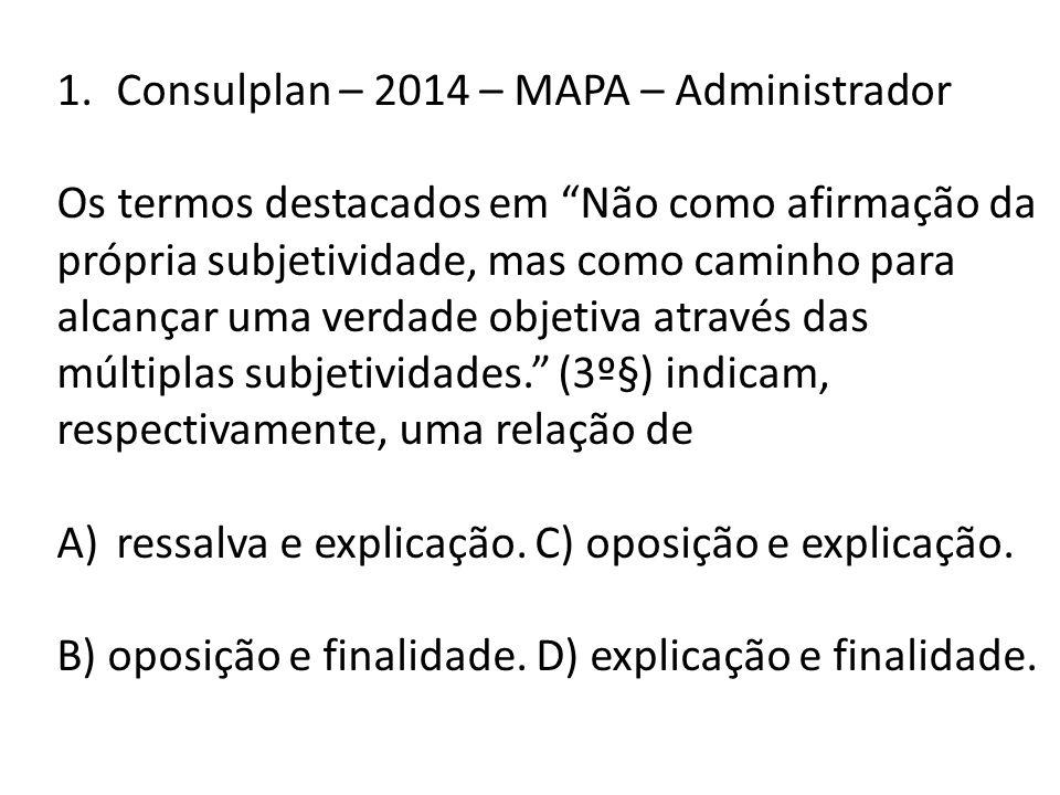 Consulplan – 2014 – MAPA – Administrador