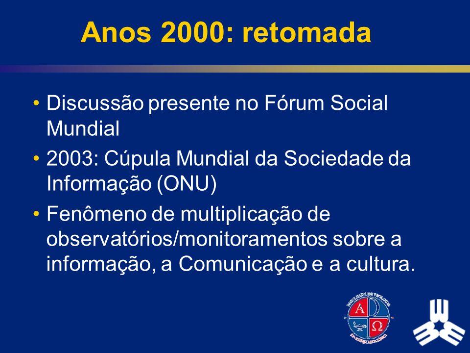 Anos 2000: retomada Discussão presente no Fórum Social Mundial