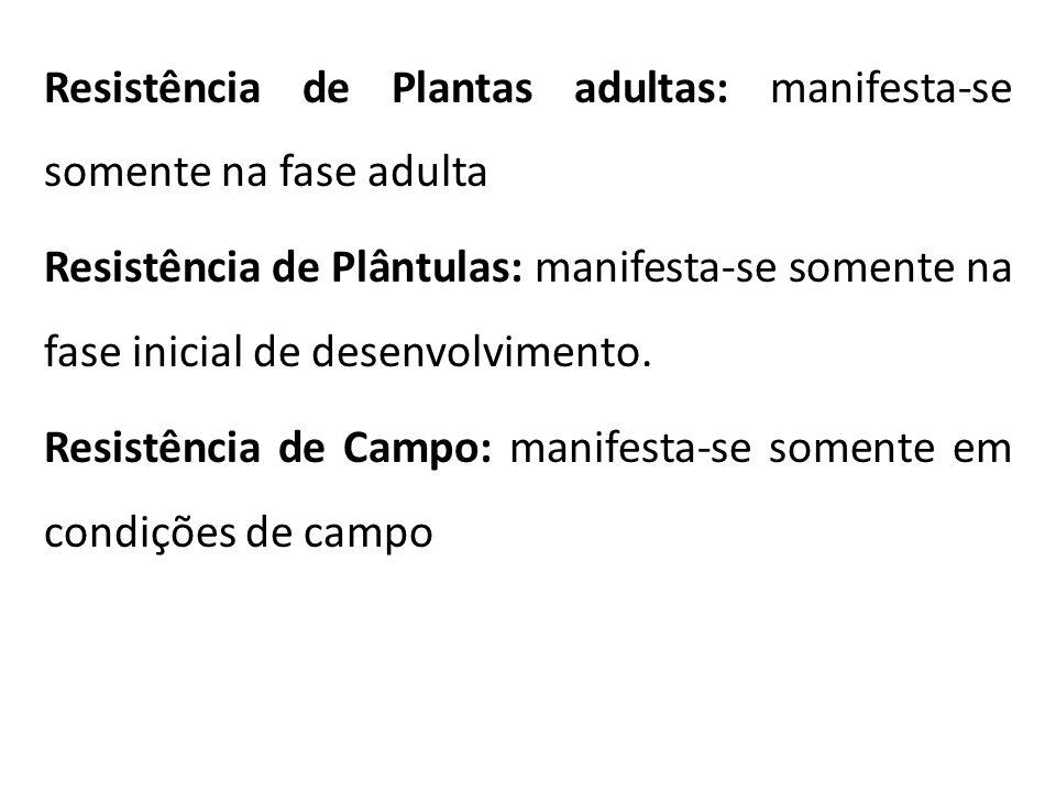 Resistência de Plantas adultas: manifesta-se somente na fase adulta