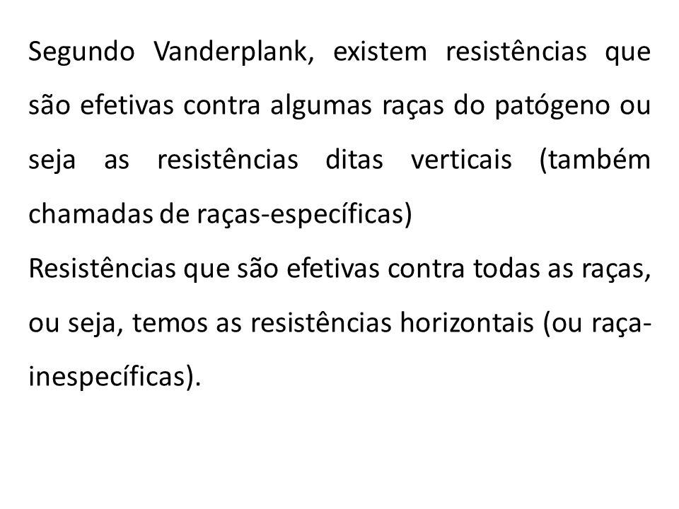 Segundo Vanderplank, existem resistências que são efetivas contra algumas raças do patógeno ou seja as resistências ditas verticais (também chamadas de raças-específicas)
