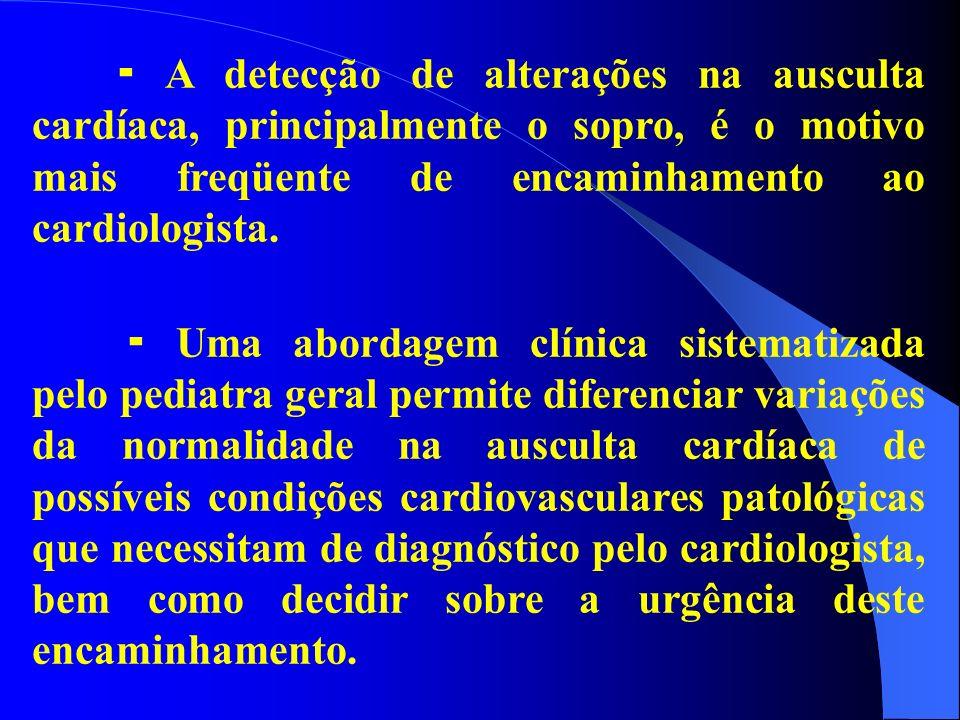  A detecção de alterações na ausculta cardíaca, principalmente o sopro, é o motivo mais freqüente de encaminhamento ao cardiologista.