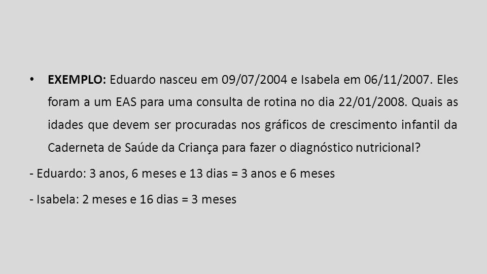 EXEMPLO: Eduardo nasceu em 09/07/2004 e Isabela em 06/11/2007