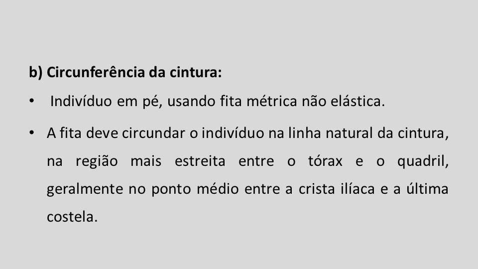 b) Circunferência da cintura: