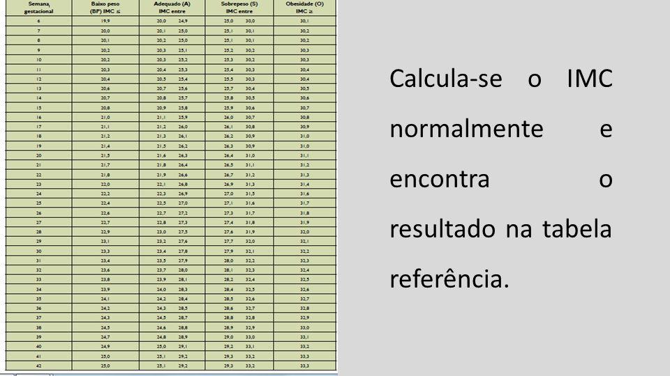 Calcula-se o IMC normalmente e encontra o resultado na tabela referência.