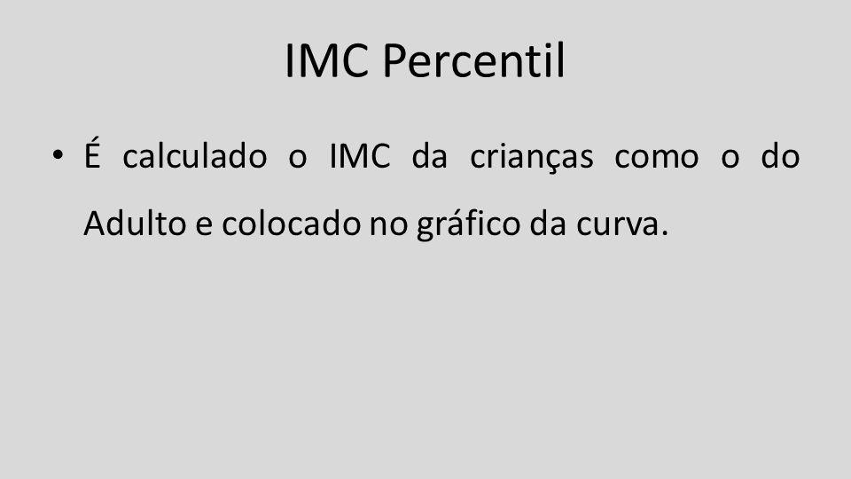 IMC Percentil É calculado o IMC da crianças como o do Adulto e colocado no gráfico da curva.