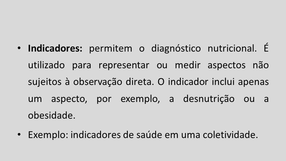 Indicadores: permitem o diagnóstico nutricional