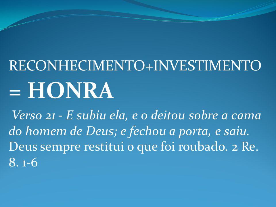 RECONHECIMENTO+INVESTIMENTO = HONRA