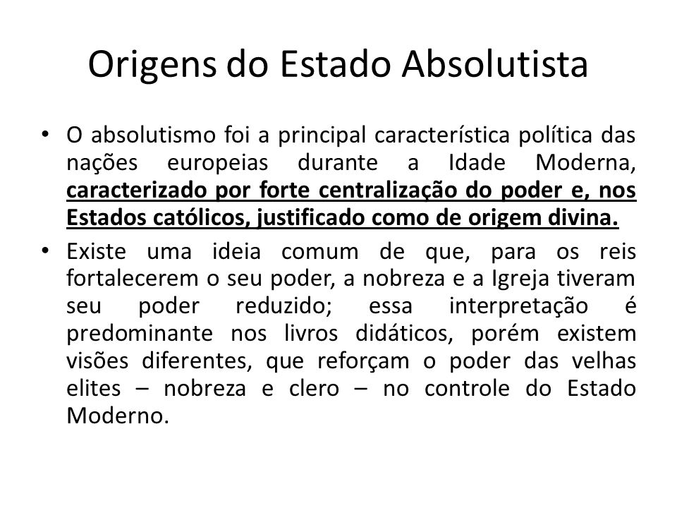 Origens do Estado Absolutista