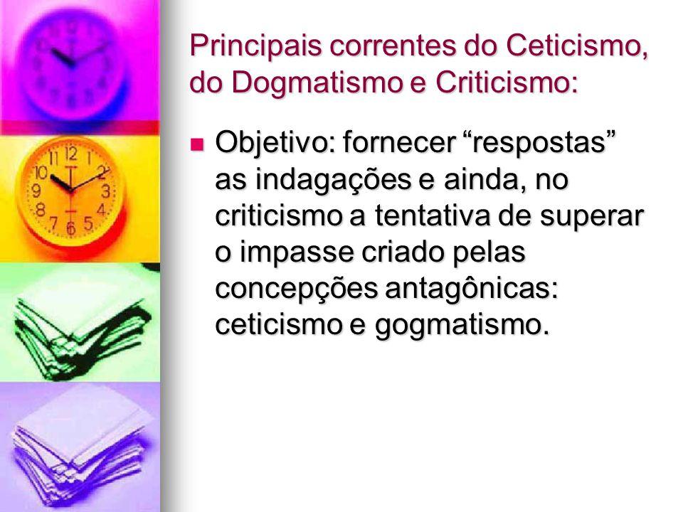 Principais correntes do Ceticismo, do Dogmatismo e Criticismo: