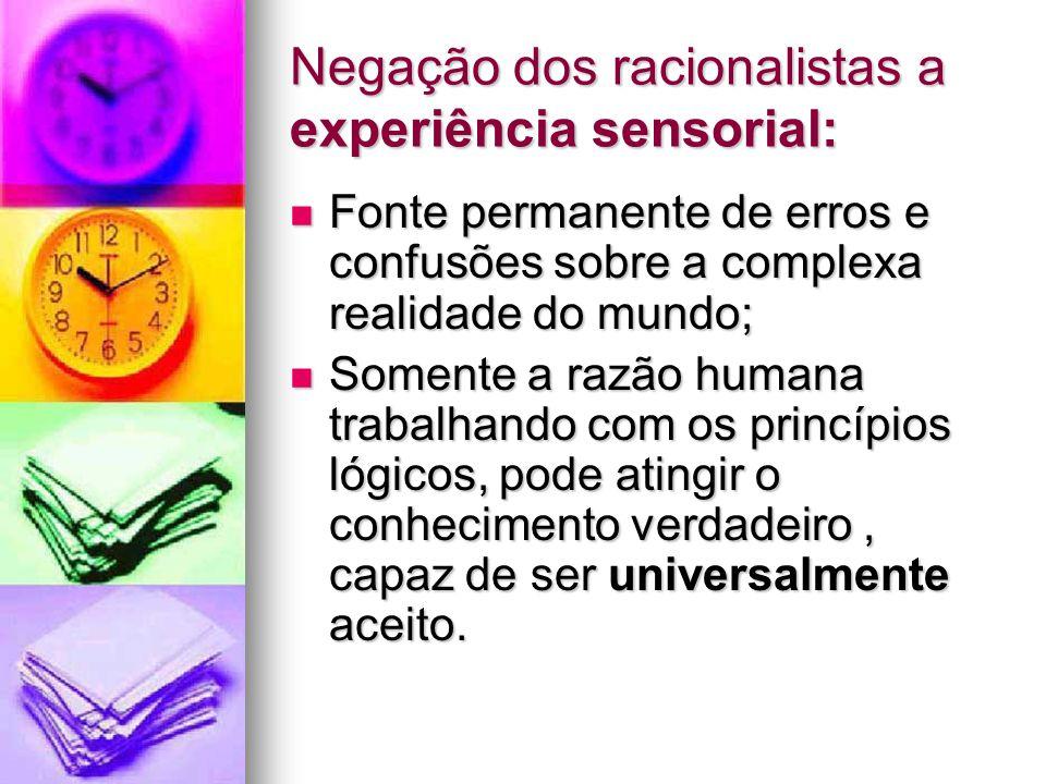 Negação dos racionalistas a experiência sensorial: