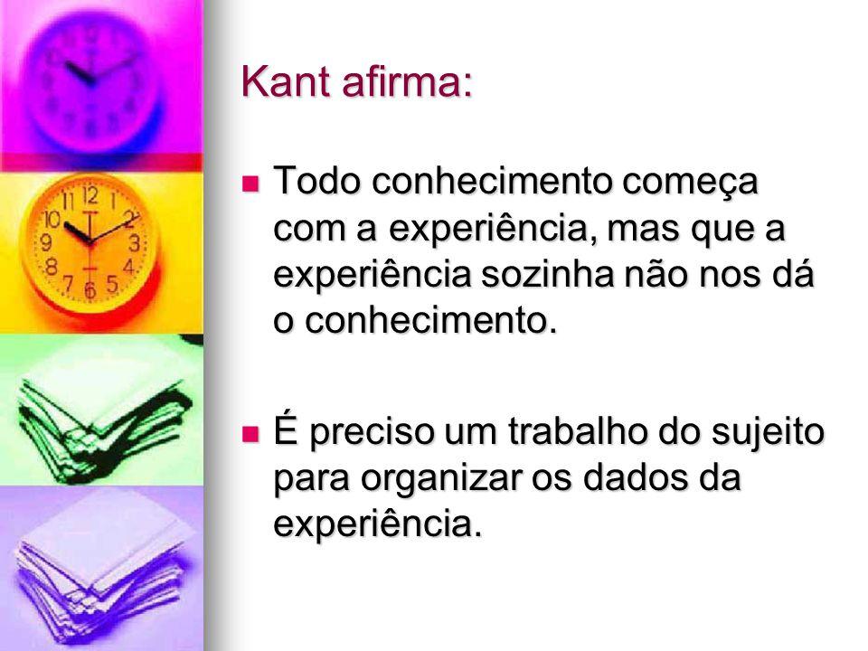 Kant afirma: Todo conhecimento começa com a experiência, mas que a experiência sozinha não nos dá o conhecimento.