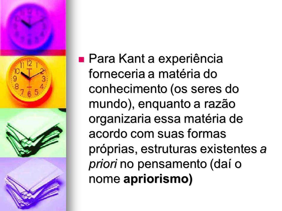Para Kant a experiência forneceria a matéria do conhecimento (os seres do mundo), enquanto a razão organizaria essa matéria de acordo com suas formas próprias, estruturas existentes a priori no pensamento (daí o nome apriorismo)