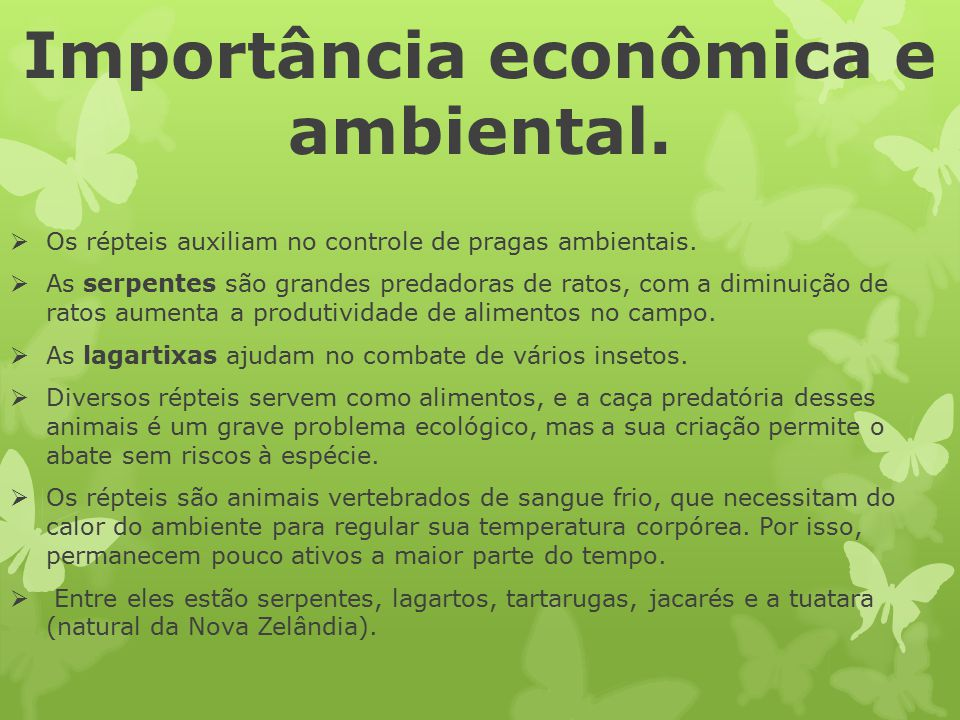Importância econômica e ambiental.