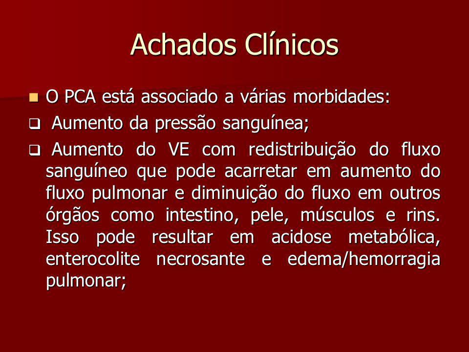 Achados Clínicos O PCA está associado a várias morbidades: