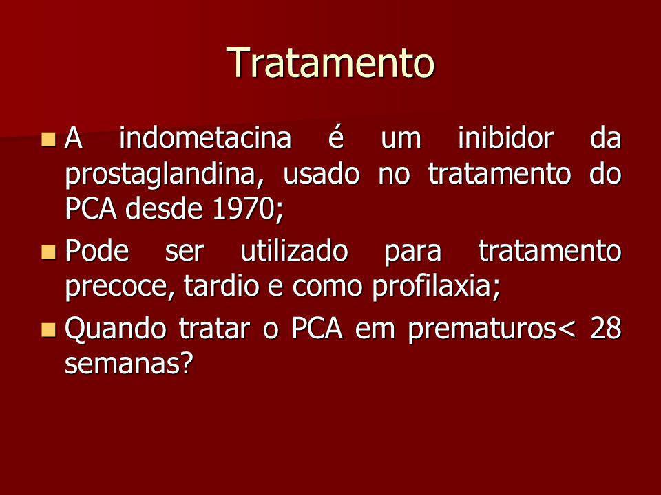 Tratamento A indometacina é um inibidor da prostaglandina, usado no tratamento do PCA desde 1970;