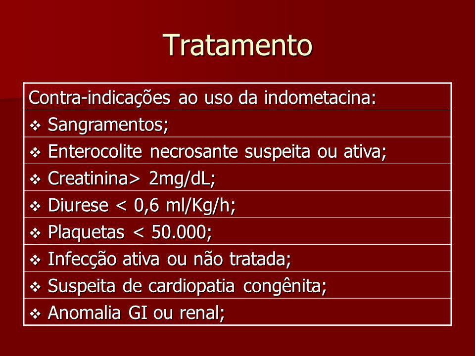 Tratamento Contra-indicações ao uso da indometacina: Sangramentos;