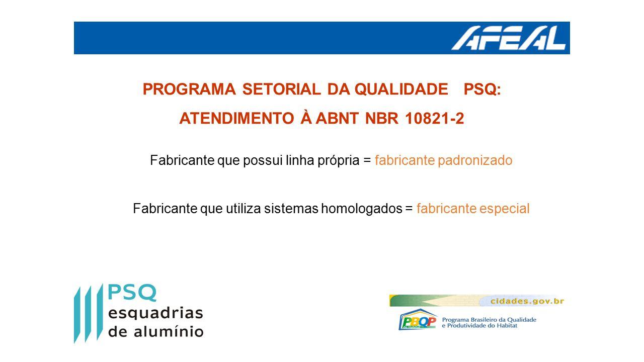 PROGRAMA SETORIAL DA QUALIDADE PSQ: ATENDIMENTO À ABNT NBR 10821-2