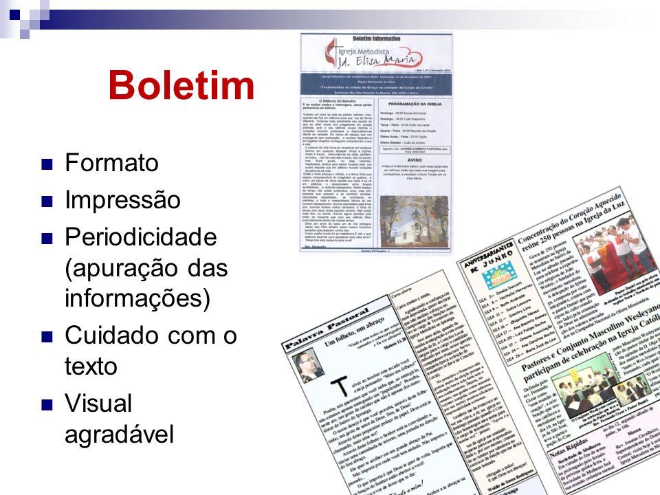Boletim Formato Impressão Periodicidade (apuração das informações)