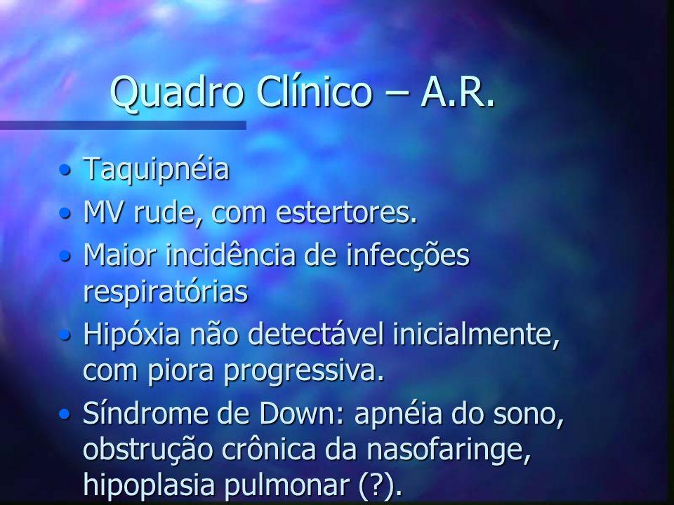 Quadro Clínico – A.R. Taquipnéia MV rude, com estertores.