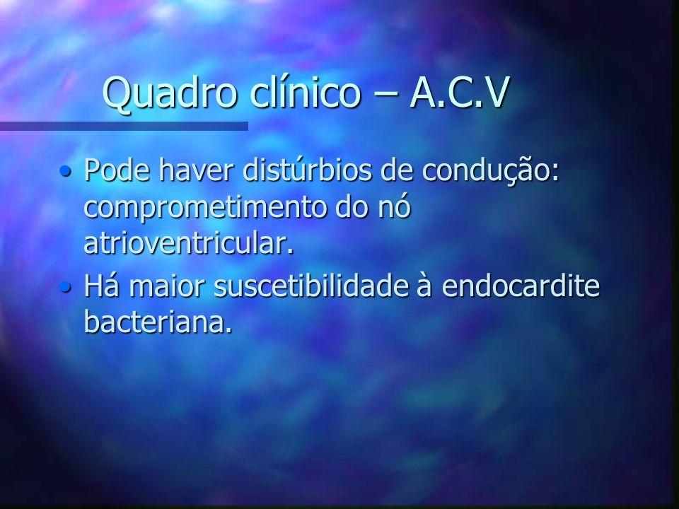 Quadro clínico – A.C.V Pode haver distúrbios de condução: comprometimento do nó atrioventricular.