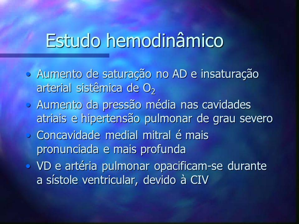 Estudo hemodinâmico Aumento de saturação no AD e insaturação arterial sistêmica de O2.