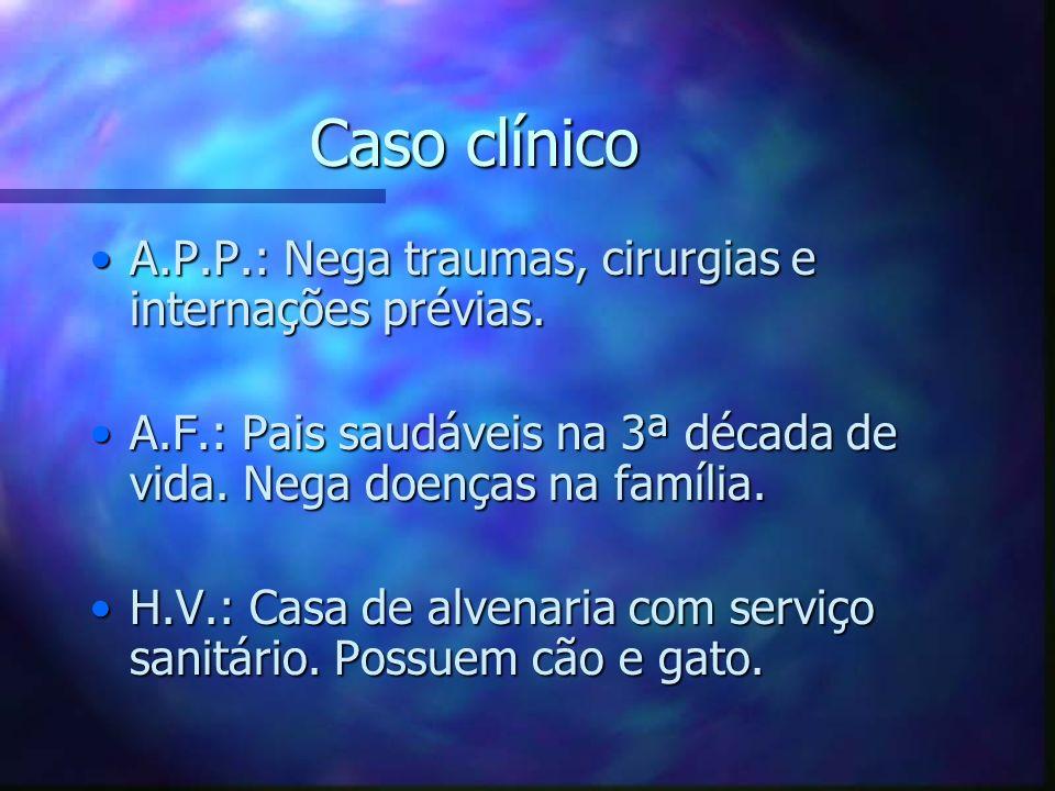Caso clínico A.P.P.: Nega traumas, cirurgias e internações prévias.