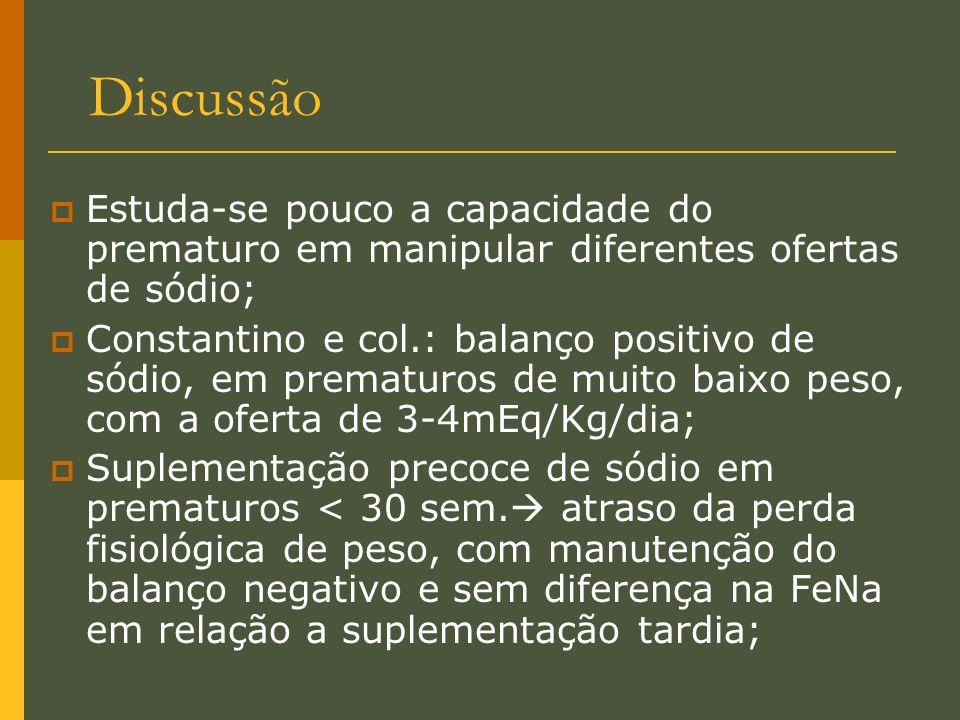 Discussão Estuda-se pouco a capacidade do prematuro em manipular diferentes ofertas de sódio;