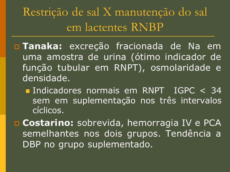 Restrição de sal X manutenção do sal em lactentes RNBP