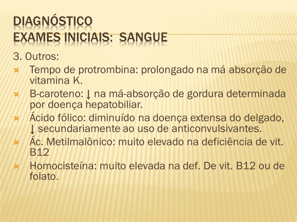 DIAGNÓSTICO Exames iniciais: sangue