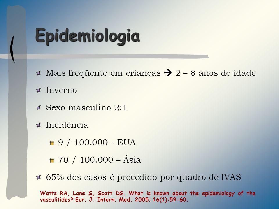 Epidemiologia Mais freqüente em crianças  2 – 8 anos de idade Inverno