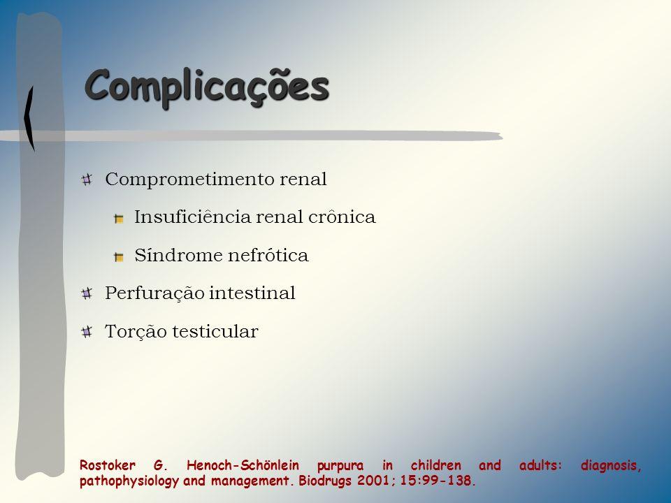 Complicações Comprometimento renal Insuficiência renal crônica