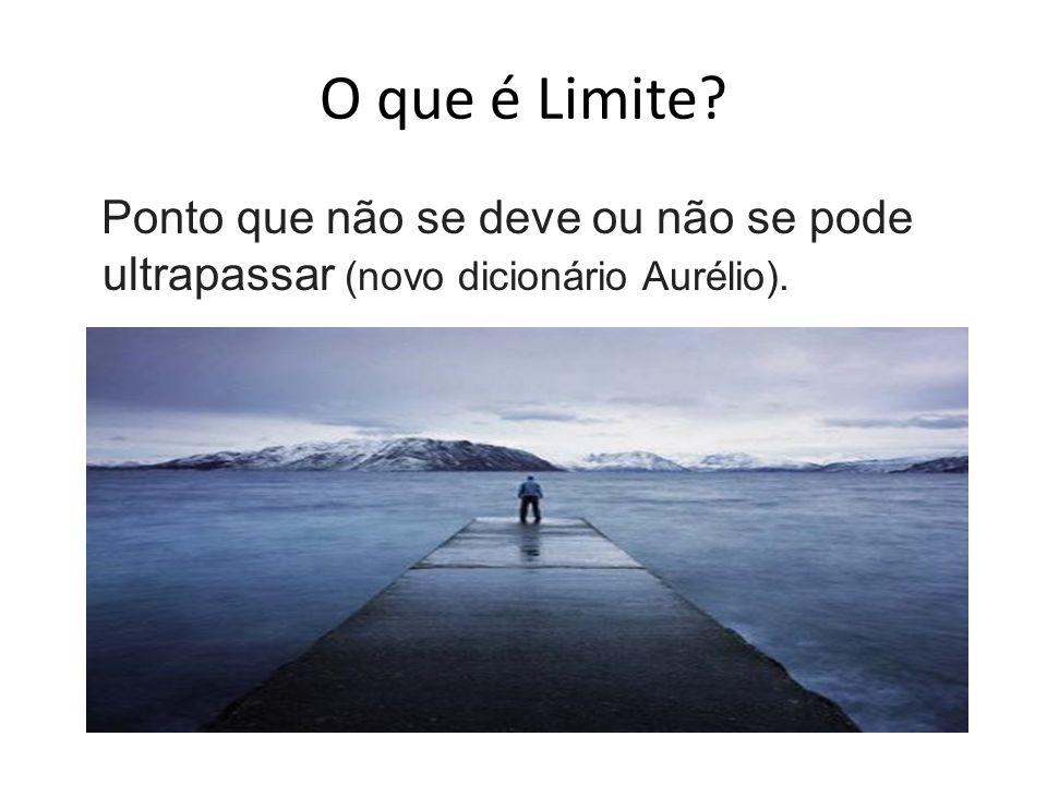 O que é Limite Ponto que não se deve ou não se pode ultrapassar (novo dicionário Aurélio).