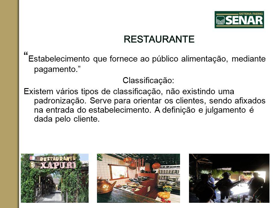 RESTAURANTE Estabelecimento que fornece ao público alimentação, mediante pagamento. Classificação: