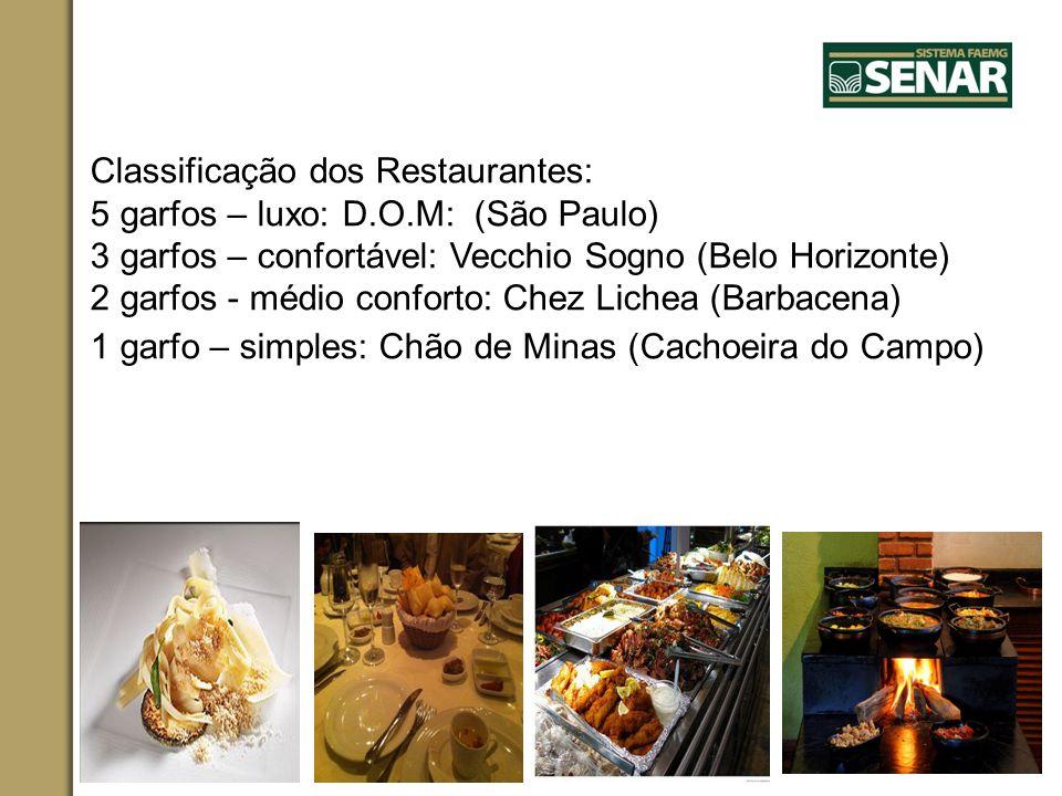 Classificação dos Restaurantes: 5 garfos – luxo: D. O