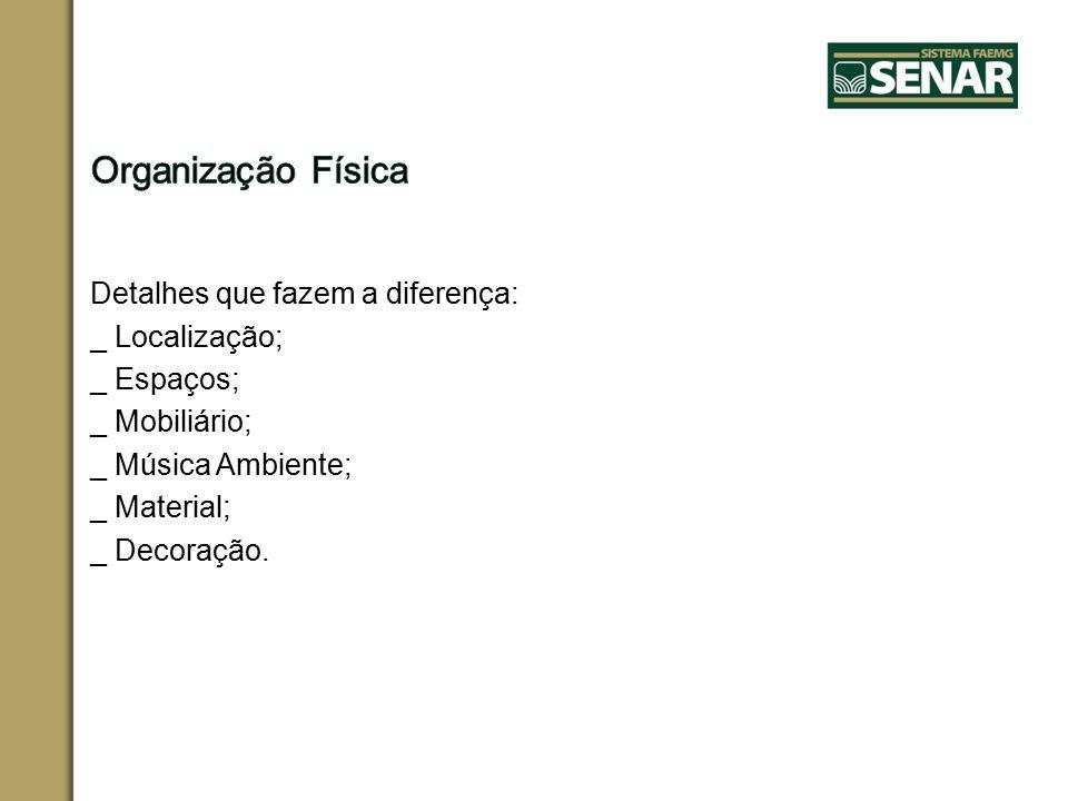 Organização Física Detalhes que fazem a diferença: _ Localização; _ Espaços; _ Mobiliário; _ Música Ambiente; _ Material; _ Decoração.