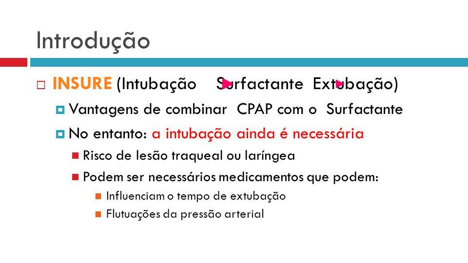 Introdução INSURE (Intubação Surfactante Extubação)