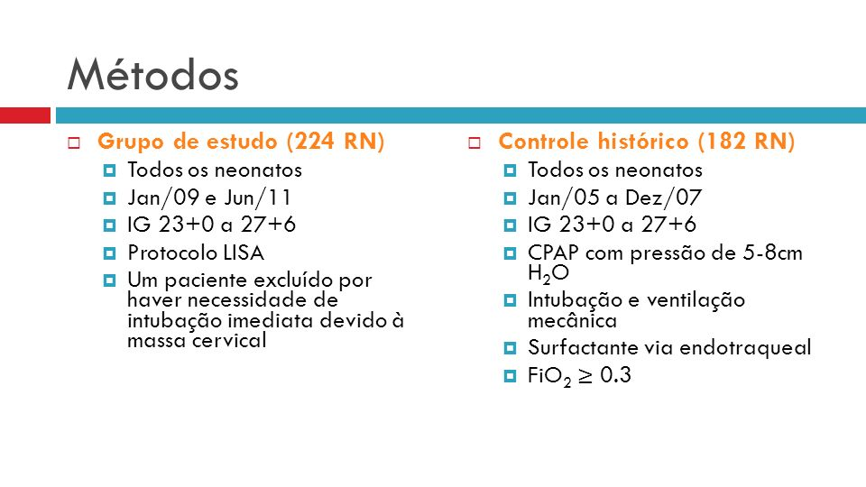 Métodos Grupo de estudo (224 RN) Controle histórico (182 RN)