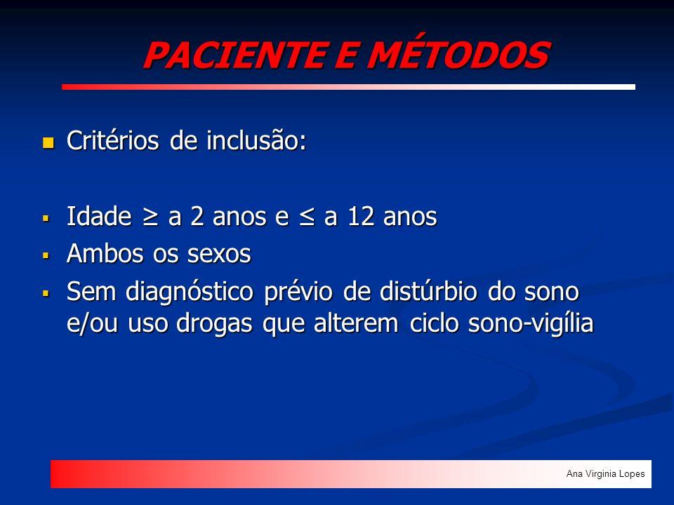 PACIENTE E MÉTODOS Critérios de inclusão: