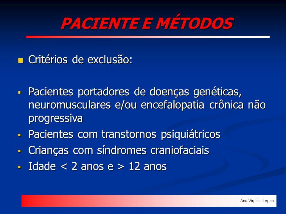 PACIENTE E MÉTODOS Critérios de exclusão: