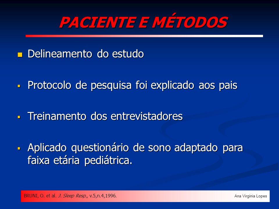 PACIENTE E MÉTODOS Delineamento do estudo