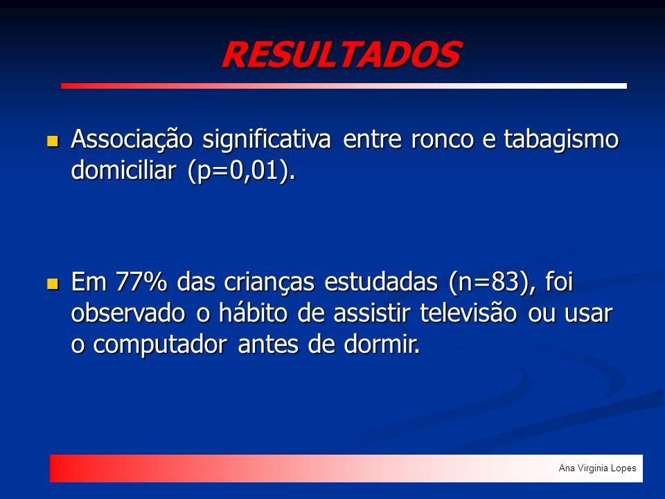 RESULTADOS Associação significativa entre ronco e tabagismo domiciliar (p=0,01).