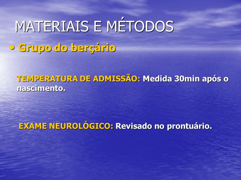 MATERIAIS E MÉTODOS Grupo do berçário