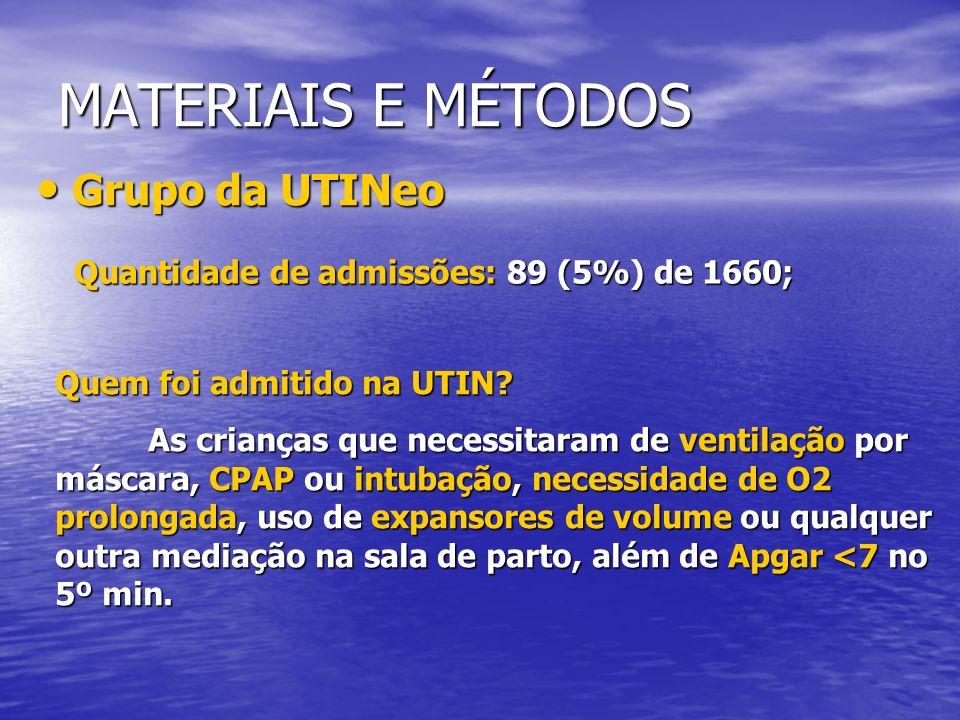 MATERIAIS E MÉTODOS Grupo da UTINeo