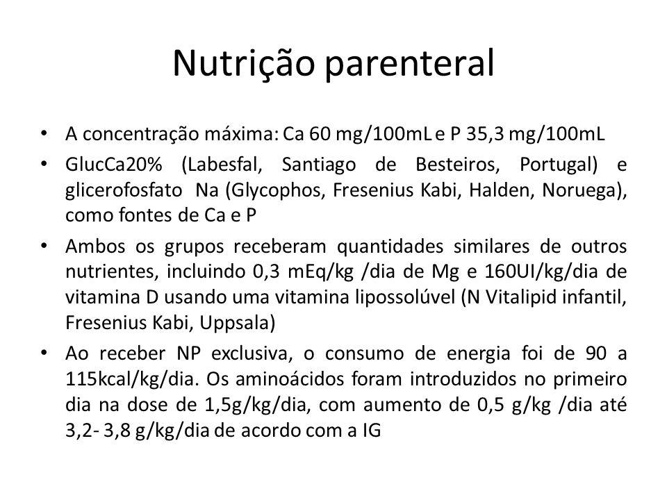 Nutrição parenteral A concentração máxima: Ca 60 mg/100mL e P 35,3 mg/100mL.