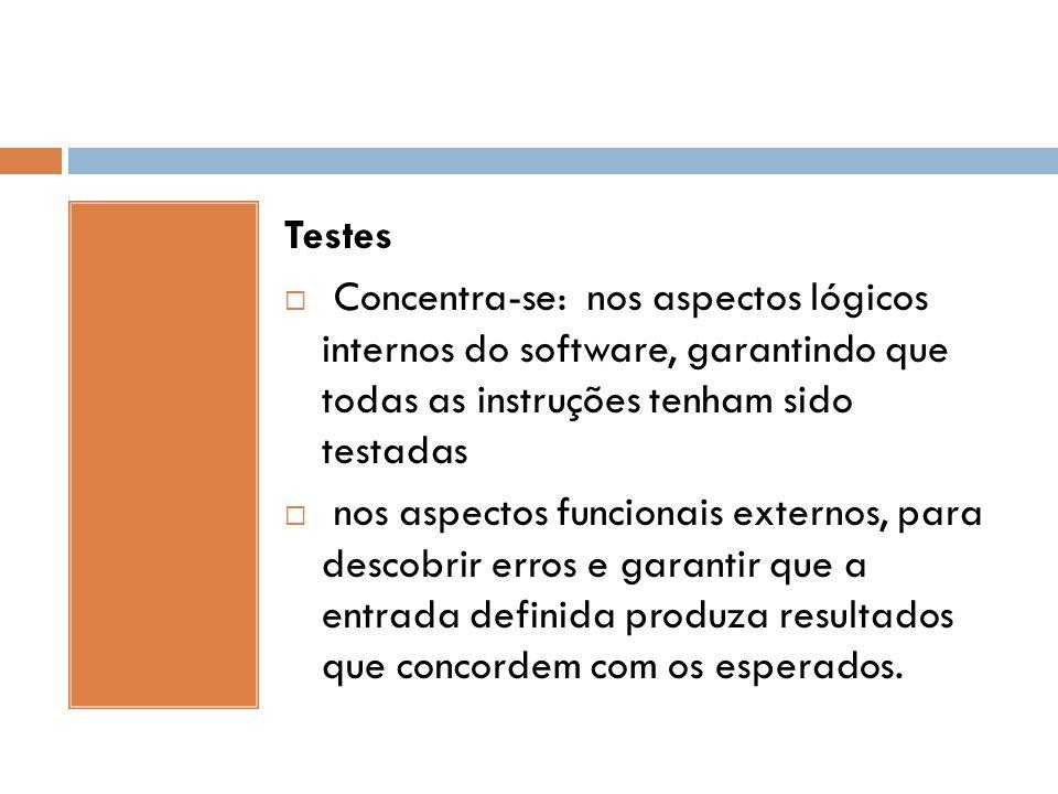 Testes Concentra-se: nos aspectos lógicos internos do software, garantindo que todas as instruções tenham sido testadas.