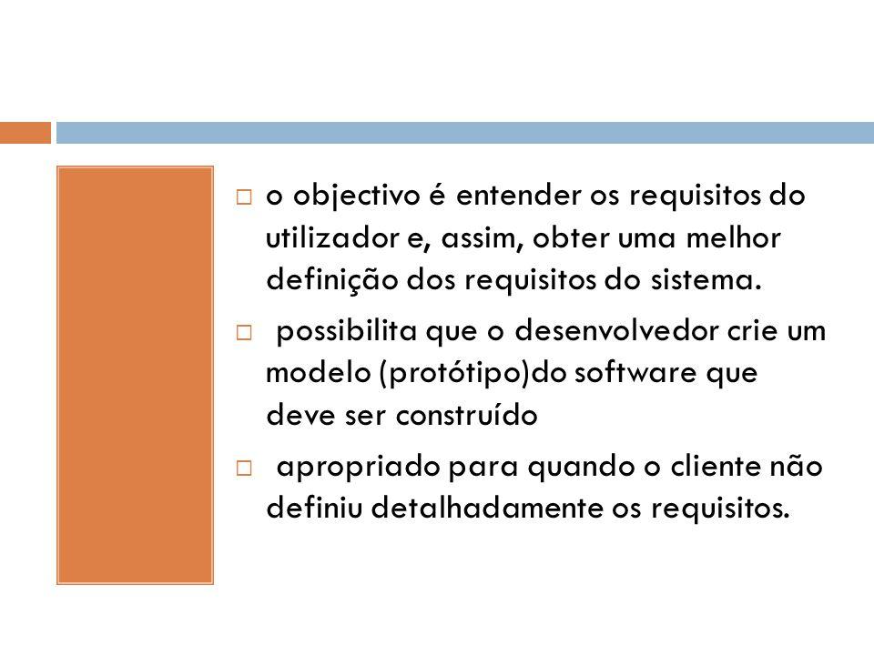 o objectivo é entender os requisitos do utilizador e, assim, obter uma melhor definição dos requisitos do sistema.