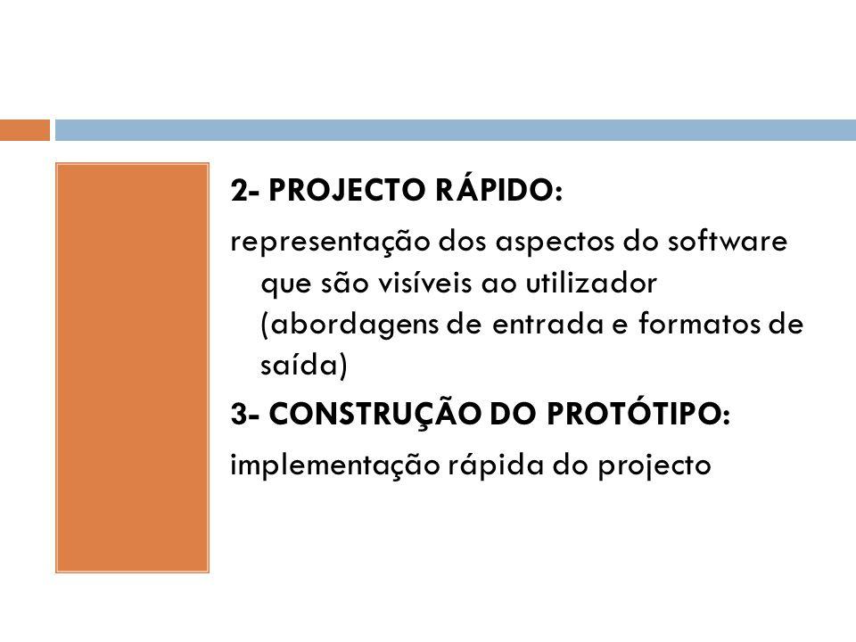 2- PROJECTO RÁPIDO: representação dos aspectos do software que são visíveis ao utilizador (abordagens de entrada e formatos de saída) 3- CONSTRUÇÃO DO PROTÓTIPO: implementação rápida do projecto