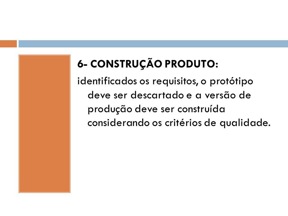 6- CONSTRUÇÃO PRODUTO: identificados os requisitos, o protótipo deve ser descartado e a versão de produção deve ser construída considerando os critérios de qualidade.