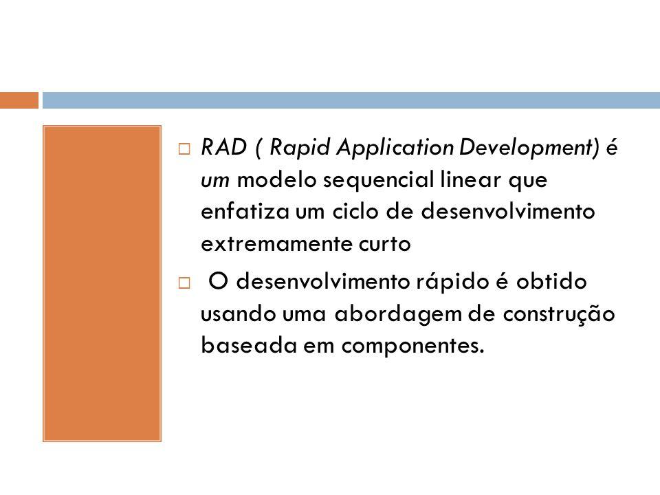 RAD ( Rapid Application Development) é um modelo sequencial linear que enfatiza um ciclo de desenvolvimento extremamente curto